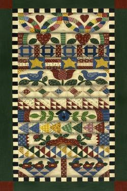 Stack of Quilts with Dark Green Border 1 by Debbie McMaster