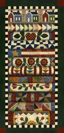 Stack of Quilts with Dark Green Border 2 by Debbie McMaster