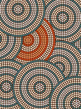 A Illustration Based On Aboriginal Style Of Dot Painting Depicting Circle Background by deboracilli