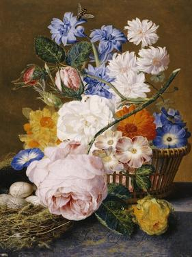 Roses, Morning Glory, Narcissi, Aster and Other Flowers in a Basket with Eggs in a Nest, 1744 by Dec Van Huysum