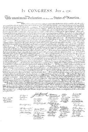 Declaration of Independence Authentic Reproduction White