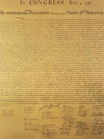 Declaration of Independence of the 13 United States of America of 1776, 1823 (Copper Engraving)