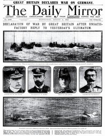 Declaration of War by Great Britain after Unsatisfactory Reply to Yesterday's Ultimatum