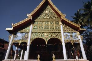 Decorated Facade of Buddhist Temple of Wat in Peng, Vientiane (Viangchan), Laos