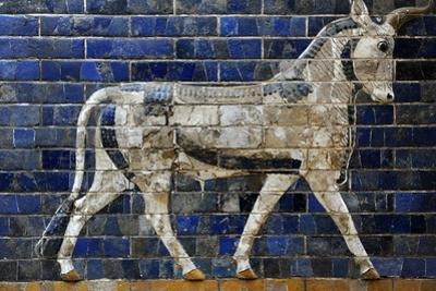 Decoration with Aurochs and Dragons in the Ishtar Gate. 6th Century BC. Babylon