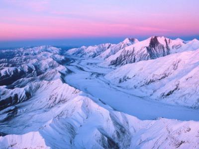 Alaska Range with Alpen Glow, Denali National Park, Alaska, USA