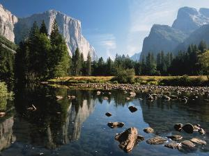 Valley View of El Capitan, Cathedral Rock, Merced River in Yosemite National Park, California, USA by Dee Ann Pederson