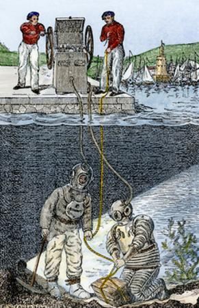 Deep-Sea Divers, Showing Air-Pump Supplying Oxygen From Land, 1800s