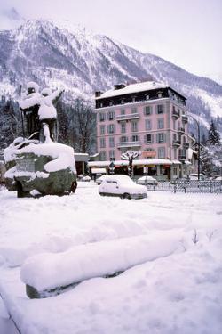 Deep snow in Alpine village