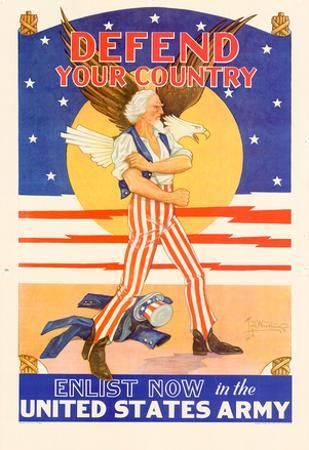Defend Your Country Enlist Now in the United States Army WWII War Propaganda Art Print Poster