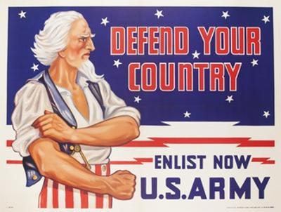 Defend Your Country, Enlist Now Us Army Wwii Poster