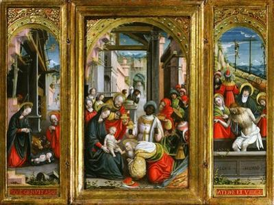 Nativity; Adoration of the Magi and Christ at the Sepulchre; Triptych, 1523 (Inv 1040)