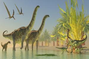 Deinocheirus Dinosaurs Watch a Group of Argentinosaurus Walk Through Shallow Waters