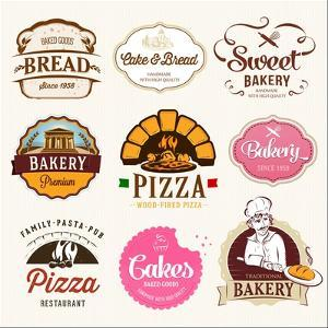 Collection of Bakery, CAKES and PIZZA Badges and Labels by Dejan Brkic