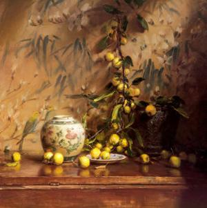 Crab Apples with Japanese Print by Del Gish