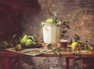 Pears and Tapestry by Del Gish