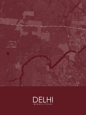 Delhi, India Red Map