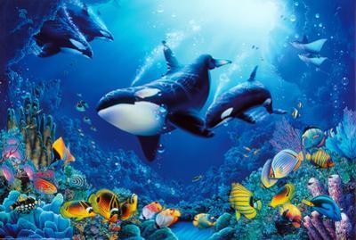 Delight of Life Underwater Scene Art Print Poster