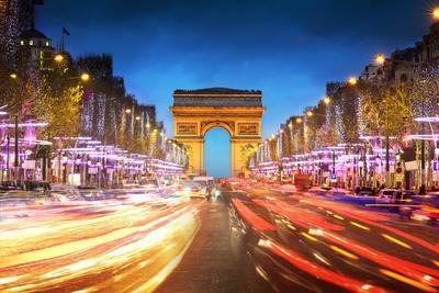 Arc De Triomphe Paris City at Sunset - Arch of Triumph and Champs Elysees