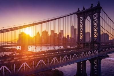 New York City - Beautiful Sunset over Manhattan with Manhattan and Brooklyn Bridge by dellm60