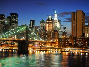 New York City Brooklyn Bridge - Downtown at Night by dellm60
