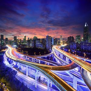 Shanghai City at Sunset with Light Trails by dellm60