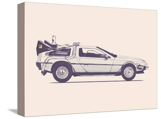 Delorean Back To The Future-Florent Bodart-Stretched Canvas