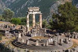 Delphi, Phocis, Greece. The tholos, dating from around 380-360 BC, beside the Sanctuary of Athen...
