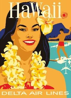 Delta Air Lines - Hawaii - Hawaiian Island Girl wearing a Flower Lei and a Surfer