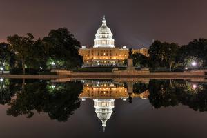 Us Capitol in Washington Dc at Night by demerzel21