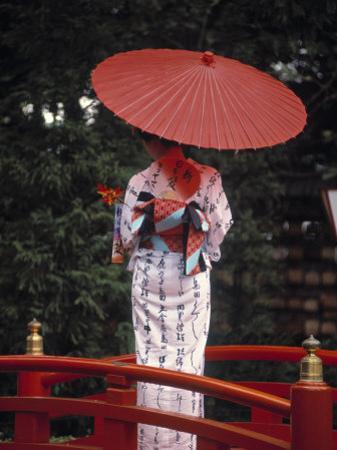 Geisha Girl with Kimono at Festival, Japan