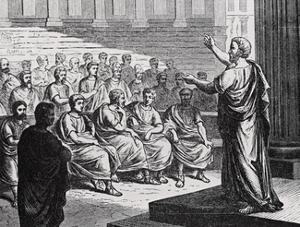 Demosthenes Delivering His Oration against Philip of Macedonia