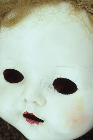 Close Up of White Face of 1950S Doll