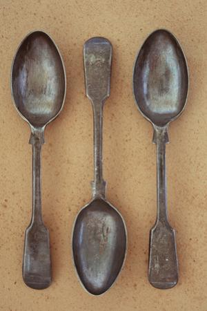 Three Antique Tarnished Silver Teaspoons by Den Reader