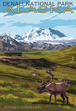 Denali National Park, Alaska - Caribou and Stoney Overlook