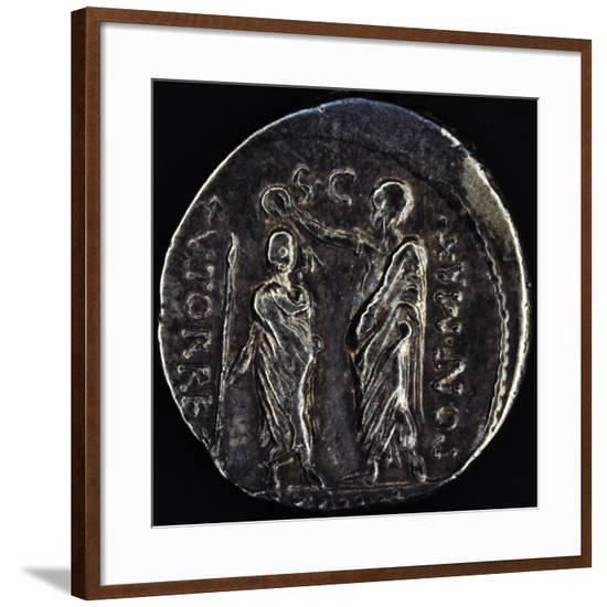 Denarius Issued by Triumvir Marco Emilio Lepido Depicting Him Crowning Ptolemy V Epiphanes of Egypt--Framed Giclee Print