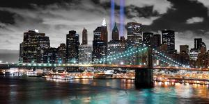 Manhattan Lights With Brooklyn Bridge by Deng