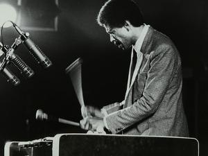Bobby Hutcherson Playing the Vibraphone at the Bracknell Jazz Festival, Berkshire, 1983 by Denis Williams