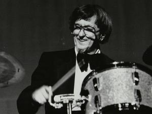 Drummer Barrett Deems Playing in Stevenage, Hertfordshire, 1984 by Denis Williams