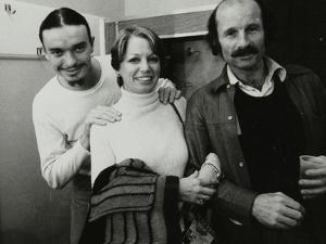 Weather Report Band Members Jaco Pastorius and Joe Zawinul with Jacki Kirkham-Pamflett at the Odeon by Denis Williams