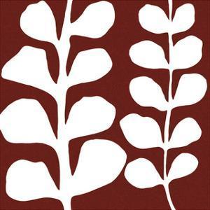 Maidenhair (white on red) by Denise Duplock