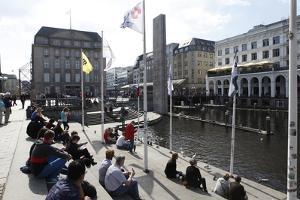 Canal Scene in Hamburg, Germany by Dennis Brack