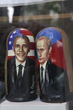 Obama and Putin Nesting Dolls in a Window in a Shop, Tallinn, Estonia by Dennis Brack