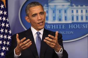 President Barack Obama at a News Conference, Brady Press Briefing Room by Dennis Brack