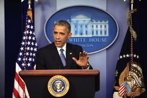 President Barack Obama at a News Conference, Brady Press Briefing Room by Dennis Brack