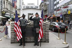 Recreated Check Point Charlie Display for Tourists, Berlin, Germany by Dennis Brack