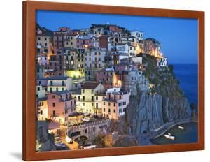 Dusk Falls on a Hillside Town Overlooking the Mediterranean Sea, Manarola, Cinque Terre, Italy by Dennis Flaherty