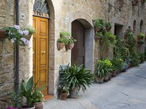 Flower Pots and Potted Plants Decorate a Narrow Street in Tuscan Village, Pienza, Italy by Dennis Flaherty