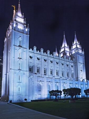 Mormon Salt Lake Temple at Night, Salt Lake City, Utah, USA