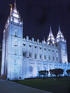 Mormon Salt Lake Temple at Night, Salt Lake City, Utah, USA by Dennis Flaherty